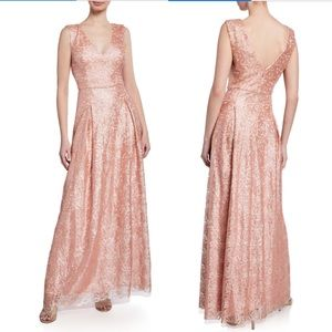 New Karl Lagerfeld Embroidered glitter sequin gown